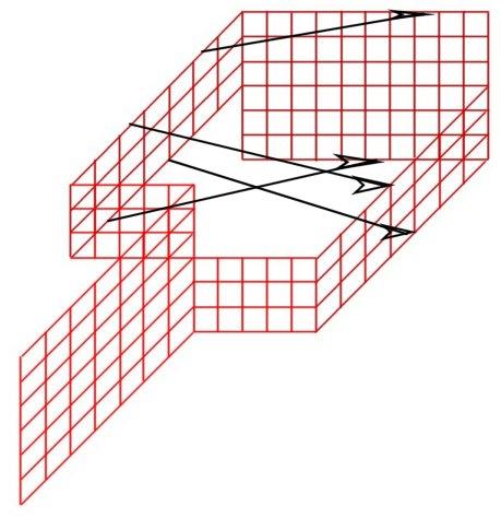 Рис. 4 схема простейшей модели односторонней поверхности с краем