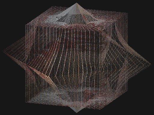Рис. 3 Пример звездчатого самопересекающегося многогранника построенного, как график от суммы двух систем уравнений (1) с различными коэффициентами