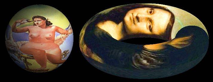 Шар с отображенной на его поверхность картиной  ''Leda Atomica'' Сальвадора Дали и тор с отображенной на его поверхность картиной  ''Мона Лиза'', она же ''Джоконда'' Леонардо да Винчи